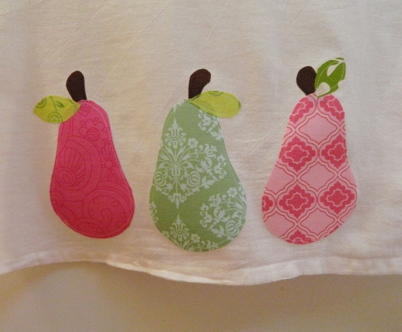 Kitchen Dish Towel  with pear applique