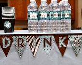 DRINKS Mini Banner, Zoo Party, Jungle Party, 1st Birthday, Drinks Bar, Wedding, Safari party