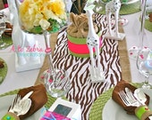 Zebra Table Runner, Ready to ship, Zoo Party, Farm Party, Safari, Jungle, Boy Baby Shower, Brown Zebra, A to Zebra Celebrations