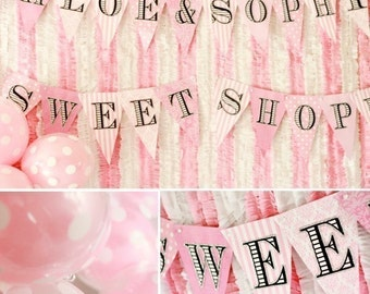 Sweet Shoppe, First Birthday, Baby Shower, Pretty in Pink, Pink Banner, PinK Party, Twins Party, Party Banners, Happy Birthday Banner, Party