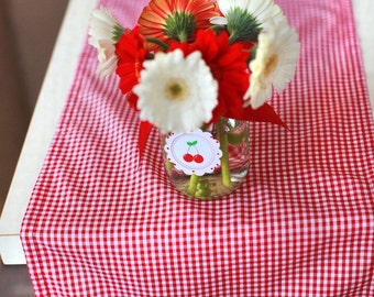 Red Gingham Table Runner - Snowhite, Cherry, Christmas, Holiday Party, Valentine's Day