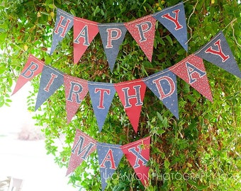 Western Birthday Banner - Cowboy Party Banner, Rodeo Party, Cowboy decor, Vintage, bandana, ready to ship, Party Banner, Cowgirl Birthday