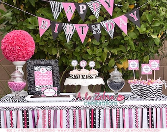 Zebra Party - Rockstar Party, Ribbon Garland, Diva Party, Sweet Sixteen, Spa Party, Ready to ship, Graduation, Baby Shower