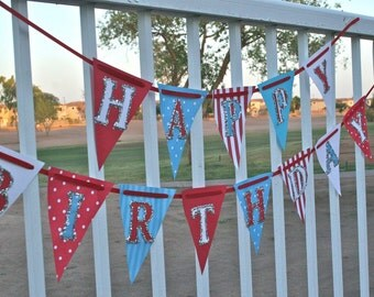 Train Party Banner - Airplane Party, Thomas the Train, Carnival Party, Circus, Big Top, Ready to ship, Birthday Banner,