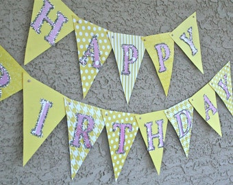 Happy Birthday banner, Lemonade Stand Party, Butterfly Party, Fairy, Barbie, Princess Party, 1st Birthday, Sweet Shoppe