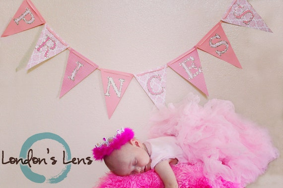 Princess Banner, Ready to ship, Newborn photo prop, Sweet Shoppe, Pinkalicious, A to Zebra Celebrations