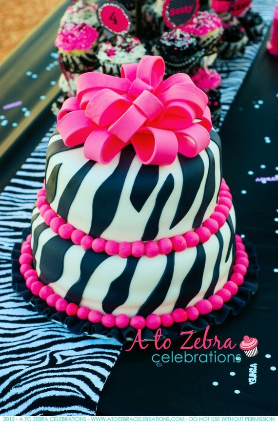 Zebra Table Runner, Ready to ship, Diva Party, 1st Birthday, Sweet 16, Rockstar Party, Barbie Party, Quinceanera, A to Zebra Celebrations