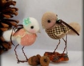 Free Shipping USA. Ready to Ship. Two Needle Felted Love Birds. Great Housewarming Gift.
