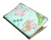 Unique pocket journal with decoupage of Ninpheas and dragonflies on aqua background