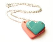 Wooden hearts Necklace - PASTEL HEARTS