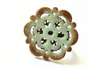 Wooden FLOWER ring - Wooden stylized flower ring - shabby chic style