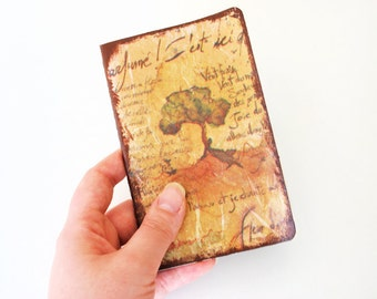 UNIQUE Pocket Moleskine with decoupage of a tree among words