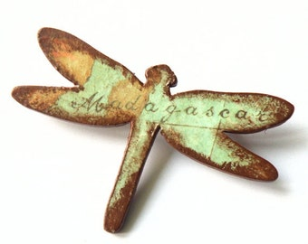 Wooden Dragonfly Brooch - MADAGASCAR