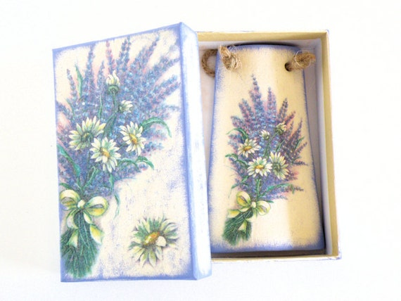 Lavender Tile in a paper box - One of a kind decoupage Home Decor