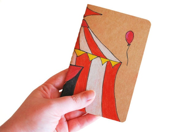 Hand drawn Moleskine - OOAK Pocket Journal, ruled pages - CIRCUS