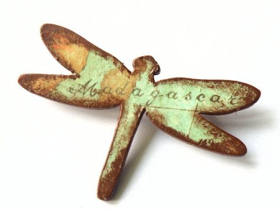 Wooden Dragonfly Brooch - MADAGASCAR