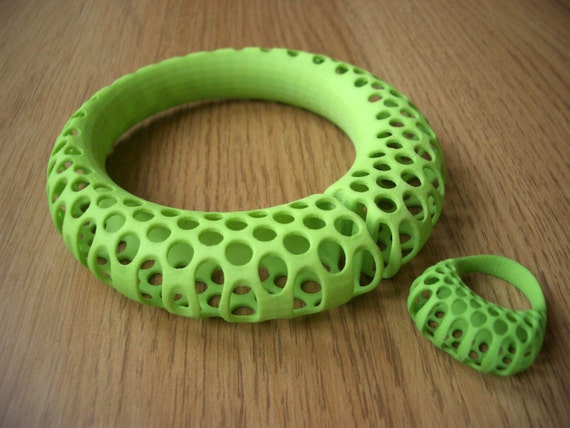 Polyoptic ring and bangle set - 3D printed - Special offer and free shipping