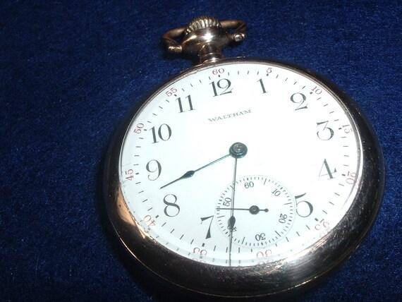 Vintage Waltham 16 Size 7 Jewels Pocket  Watch In Gold Filled Case