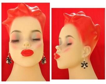 Black Daisy Silver Earrings NEW Handmade Jewelry Women Beaded Accessories Gift