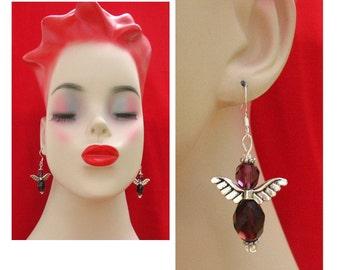 Purple Crystal Angel Earrings Jewelry Handmade Women's Fashion Accessories