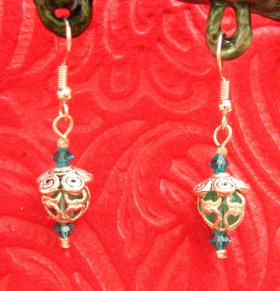 Turquoise Silver Filigree Earrings, Jewelry Handmade Women's Fashion Accessories