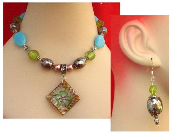 Spring Art Glass Foil Pendant Necklace & Earrings Jewelry Set Handmade Women's Fashion Accessories