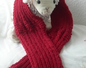 Ruby Red Wine Rib and Garter Knit Scarf -Custom Order - HIP BELT/ Winter Warmer for Belles