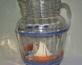 Hazel Atlas Sail Boat Glass Beverage Pitcher