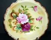Elegant Bowl, Serving Bowl,Pretty Hand Painted Pink Roses Bowl, Porcelain Dish, Retro Kitchen, Cottage Chic, Kitschy Retro, Fancy Dish