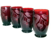 4 Beautiful Anchor Hocking Etched Cherries Royal Ruby Glasses