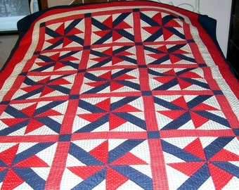 Patroitic Red White and Blue Cotton Pin Wheel Hand Quilted Quilt, Bed Covering, Bed Coverlet, Home Decor, Made in U.S.A.