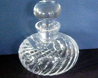 Swirled Bottom Glass Perfume Bottle Glass Stopper, Vanity, Cologne Bottle, Fragrance, Scent Bottle, Ladies Vanity, Clear Glass Perfume