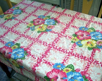 Colorful Floral Cotton Kitchen Tablecloth, Hot Pink, Blue and Yellow, Kitchen Table Covering, Square Table Cloth, Summer Colors, Cotton