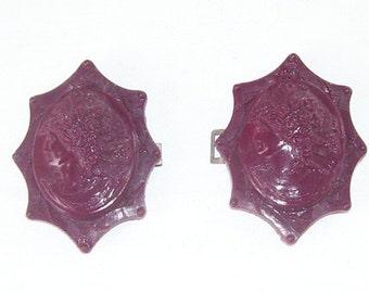 Matching Belt Buckles Victorian Ladies Face, Early Plastic, Burgandy color, Double Hook Belt Buckle, Ladies Accessories