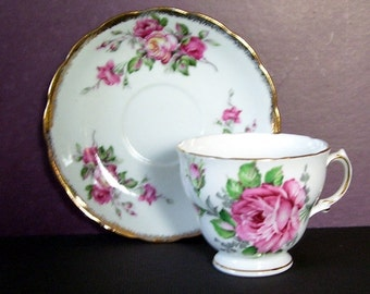 Royal Vale Pink Roses English Teacup and Saucer Trimmed with Gold