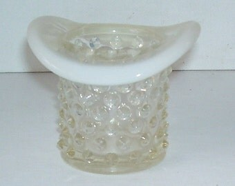 Fenton Opalescent  Glass Hobnail Hat Tooth Pick Holder, Collectible Fenton, Small Fenton Glass Hat, Fenton, Opalescent Fenton