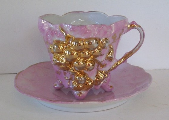 One Pink and Gold Lusterware Teacup and Saucer,Gold Grapes,Porcelain,Victorian Luster, Embossed Grapes, Cabinet Cup and Saucer,