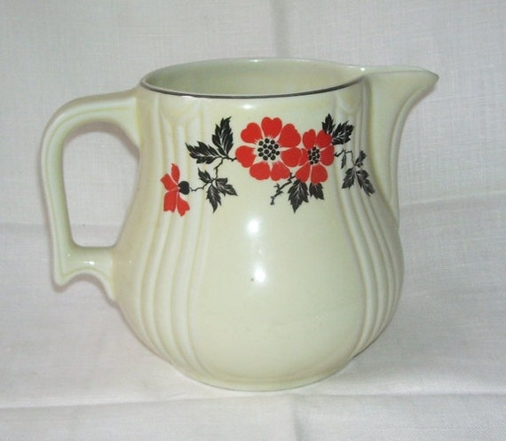 Vintage Hall S Red Poppies Pottery Pitcher