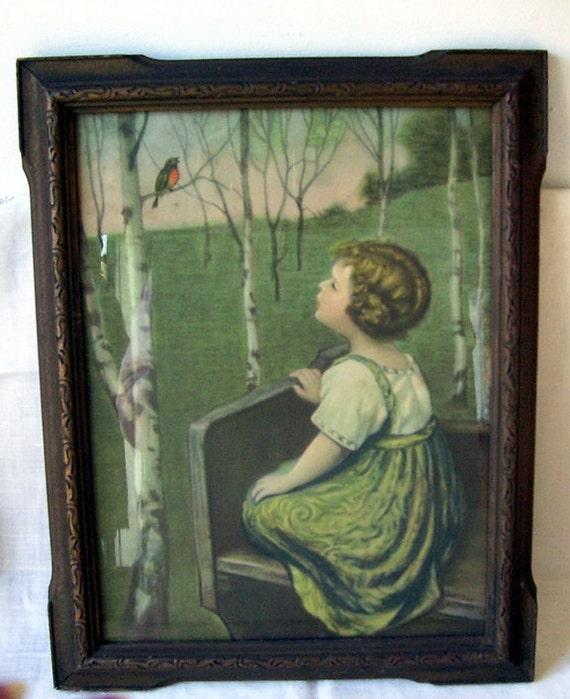 Vintage Little Girl And Robin Litho Print