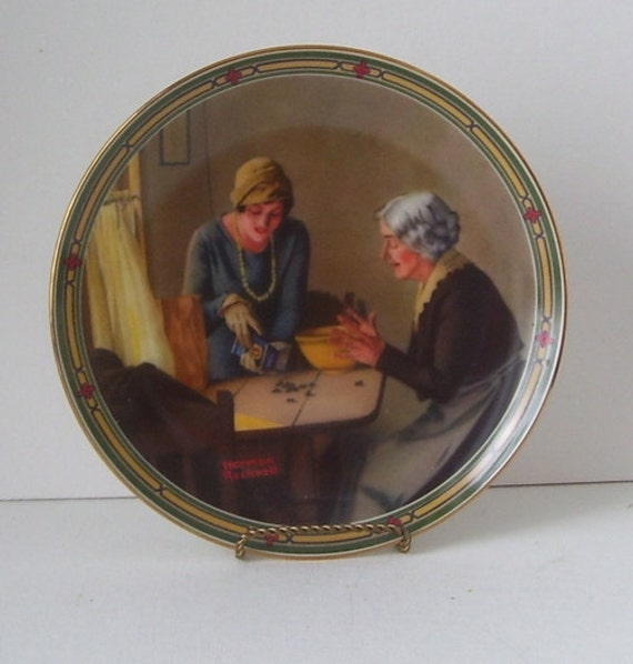 Norman Rockwell Plate  A Familys Full Measure 1985, Collectors Plate, Mother and Daughter, Artist Rockwell Home Decor