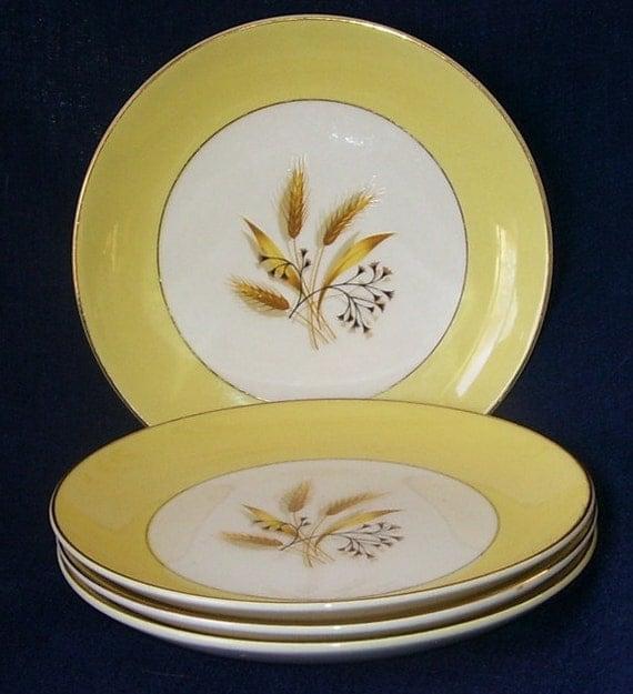 4 Homer Laughlin Autumn Gold Wheat Dessert Plates Picnic
