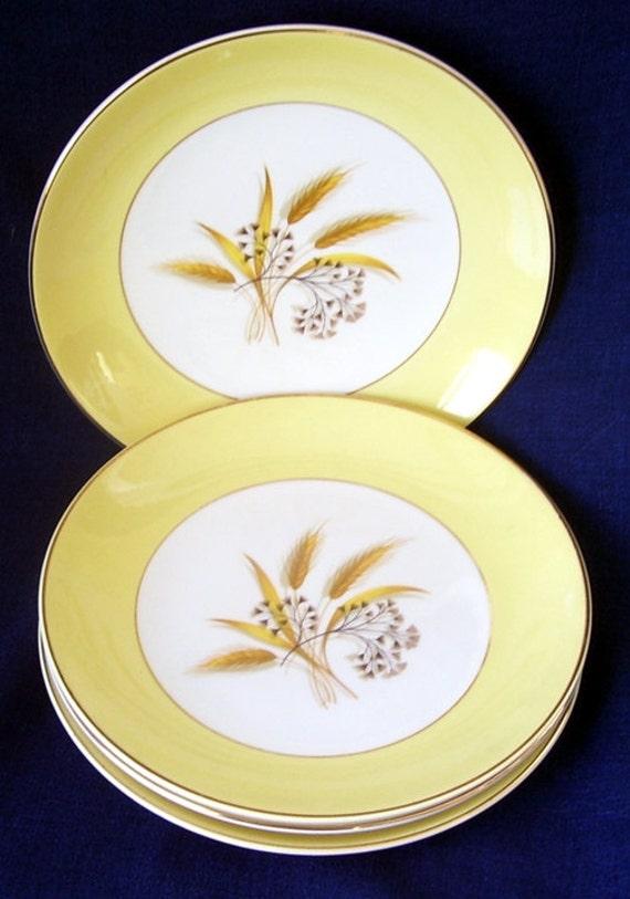 4 Homer Laughlin Autumn Gold Wheat Salad Plates