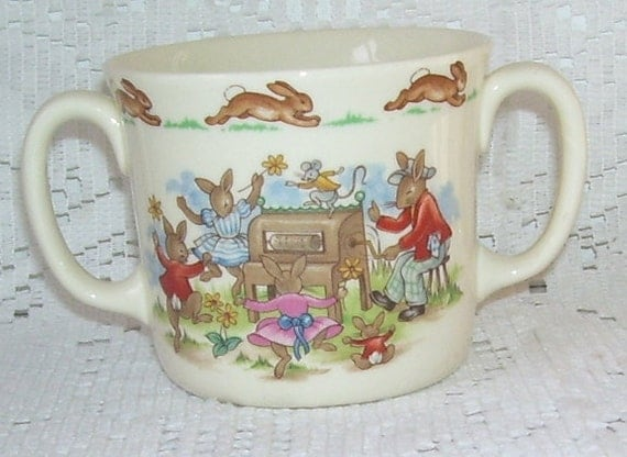ON SALE-Royal Doulton Beatrix Potter Bunnykins Double Handed China Cup, Rabbits, Childrens Cup, English Artist,  farm Scene, English