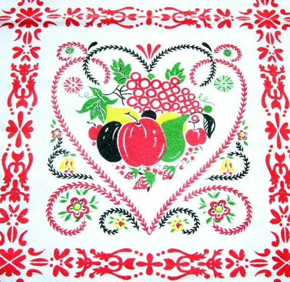 Vintage Colorful Scandinavian Fruit and People Cotton Tablecloth