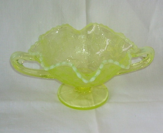 Rare Fenton Vaseline Color Opalescent Double Handle Bowl Compote, Candy Dish Depression,