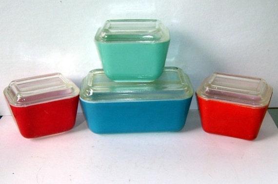 4 Pyrex Refrigerator Dishes, Red, Aqua, Blue and Orange