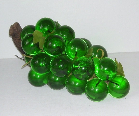 Cluster Of Green Acrylic Grapes On Branch