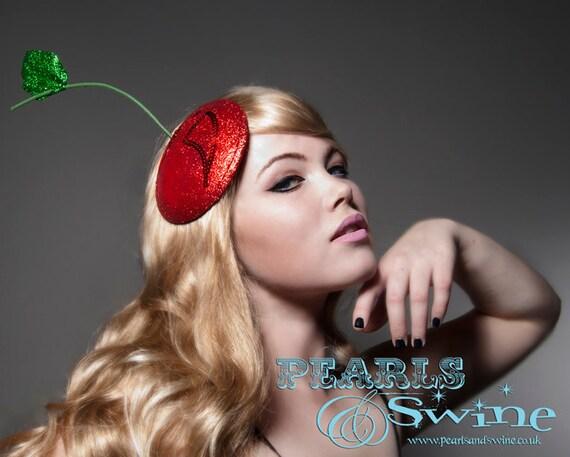 Cherry Fascinator Red Glitter Hat Pop Surreal Millinery Headpiece Bride Wedding Royal Ascot Ladies Day by Pearls & Swine