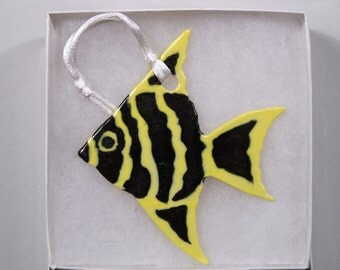 Black and Yellow Striped Angel Fish Ornament - Handpainted Porcelain