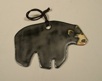 Black Bear Ornament - Handpainted Porcelain